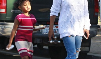Exclusive... Christina Milian Takes Her Daughter Out For An Early Dinner