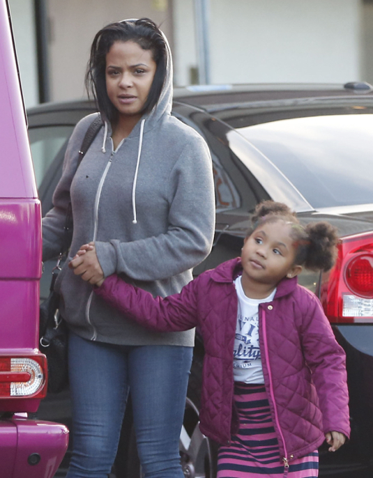 Exclusive... Christina Milian & Daughter Out For Sushi In Studio City
