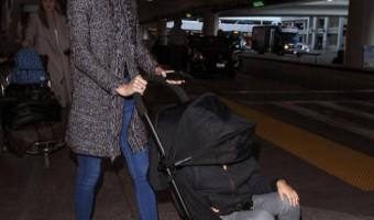 Miranda Kerr Touches Down With Flynn