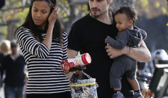 Zoe Saldana & Marco Perego Spend the Day With Their Twins