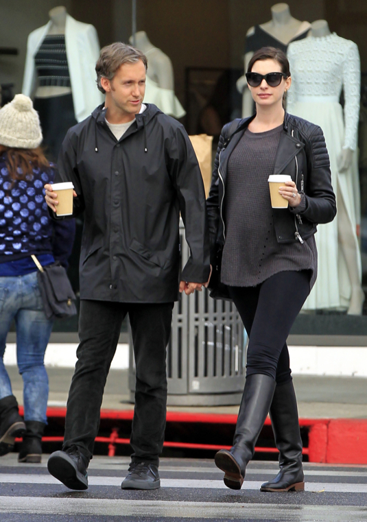 Pregnant Anne Hathaway Out And About With Husband Adam Shulman