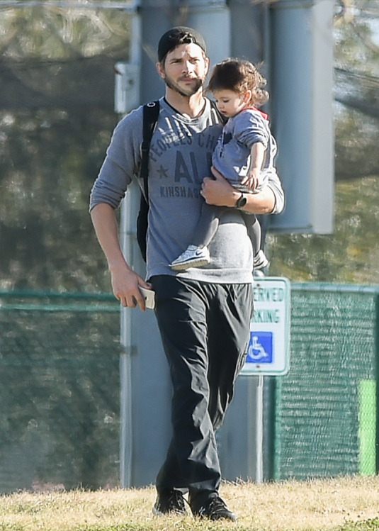Semi-Exclusive... Ashton Kutcher At The Park With Wyatt In New Orleans