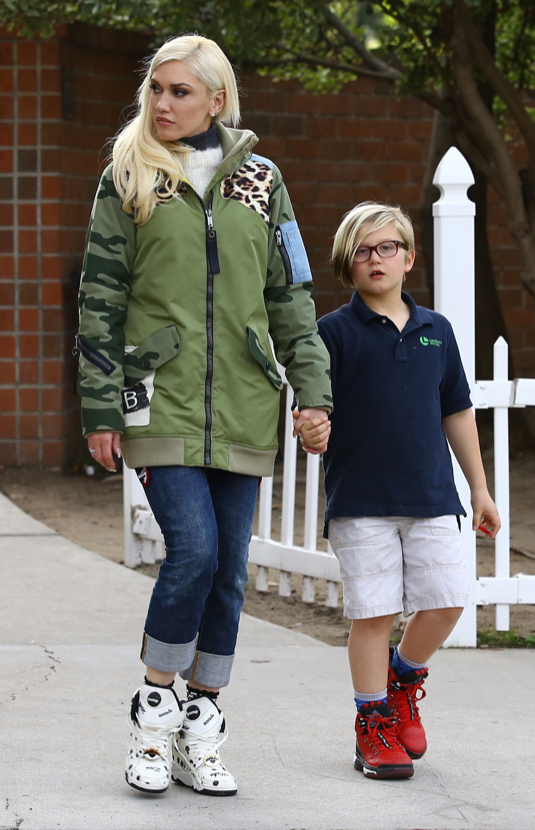 Exclusive... Gwen Stefani Walks The Dog With Her Kids