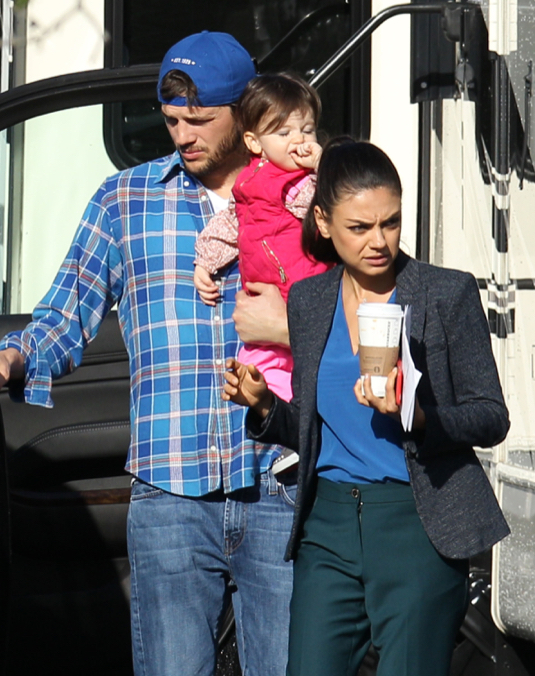 Exclusive... Mila Kunis And Ashton Kutcher On The Set Of 'Bad Moms'