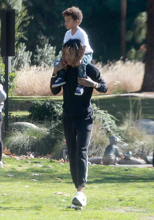 Exclusive... Wiz Khalifa Enjoys A Day At The Park With His Son