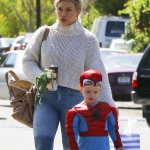 Hilary Duff Takes Luca to a Birthday Party