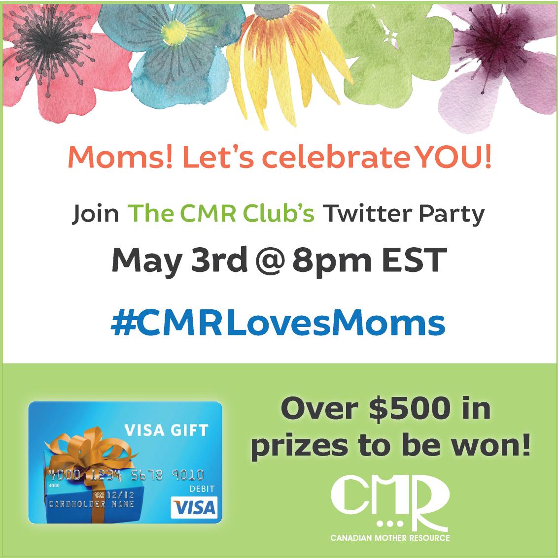#CMRLovesMoms Twitter Party promo images copy