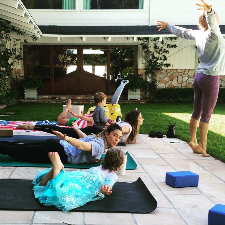 Drew Barrymore and Olive Yoga