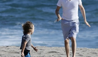 Matt Bellamy Enjoys A Day At The Beach With Son Bingham
