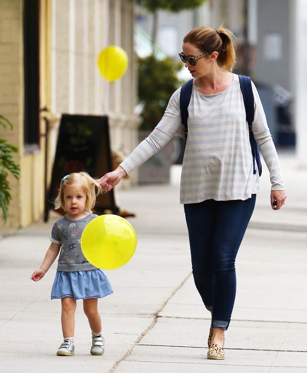 Pregnant Emily Blunt Takes Her Daughter Hazel To Get A Haircut