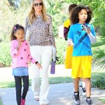 Heidi Klum Takes The Kids To The Park For Sons' Football Game