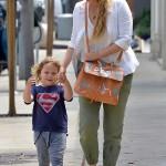 Elizabeth Berkley Takes Son Sky Lauren On A Lunch Date