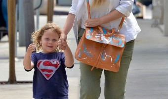 Elizabeth Berkley Takes Son Sky Lauren On A Lunch Date