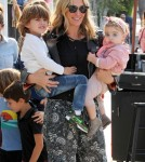 52060000 Model and supermom, Molly Sims, is spotted outside Au Fudge Restaurant in West Hollywood, California on May 16, 2016. She was with her two children, Brooks and Scarlett. FameFlynet, Inc - Beverly Hills, CA, USA - +1 (310) 505-9876