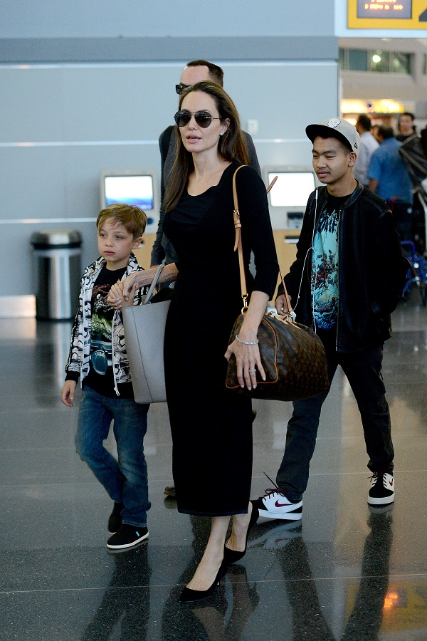 Angelina Jolie At LAX With Sons Maddox And Knox