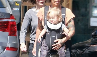 Linda Perry And Sara Gilbert Out And About With Baby Rhodes