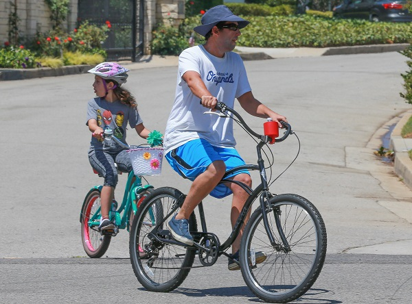 Adam Sandler And Wife Jackie Take Their Daughters For A Bike Ride