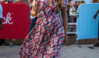 Pregnant Blake Lively Beams in Floral Maternity Dress