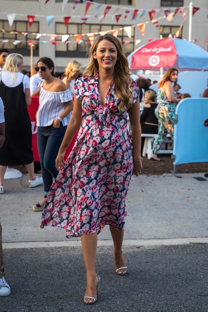 edebfd8b43b84 Pregnant Blake Lively Beams in Floral Maternity Dress | Celeb Baby ...