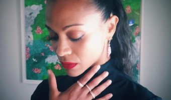 Zoe Saldana's Twins Cy And Bowie Play In Matching Outfits