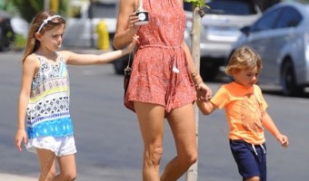 Alessandra Ambrosio Goes Shopping With Her Kids