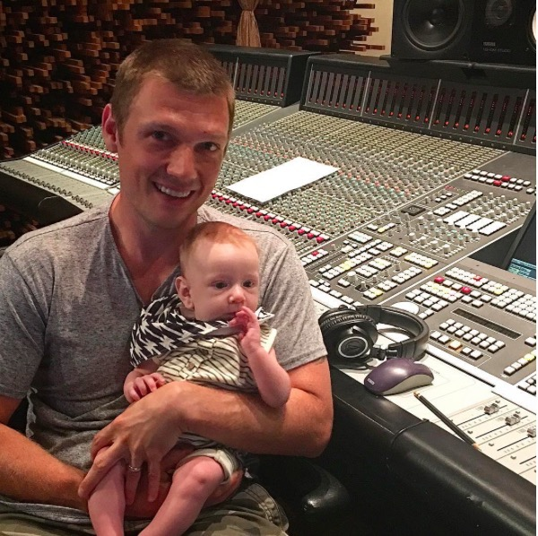 Nick Carter Takes Baby Son Odin to the Studio