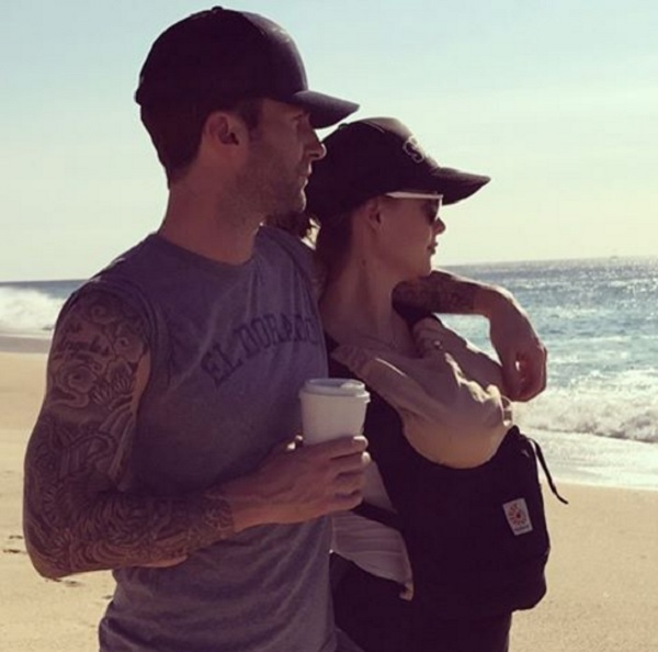 Adam Levine And Behati Prinsloo Take Baby Dusty To The Beach