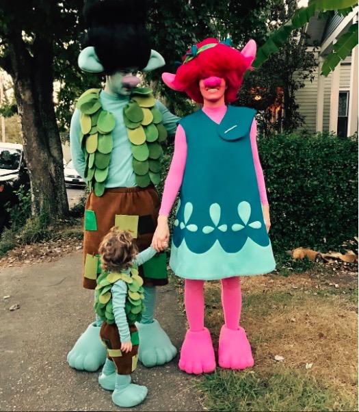 Jessica Biel & Justin Timberlake Dress as Trolls With Son