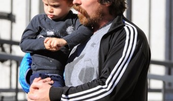Christian Bale Breakfast's With Son Joseph