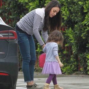 Mila Kunis Takes Wyatt to Daycare
