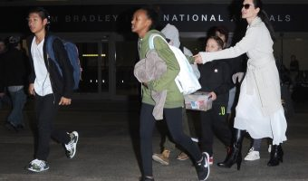 Angelina Jolie Touches Down at LAX With Children