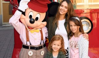 Jessica Alba & Family Meet Mickey Mouse at Disneyland
