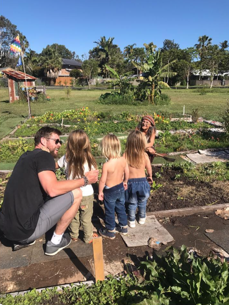 Chris Hemsworth Shares New Gardening Pics With His Kids