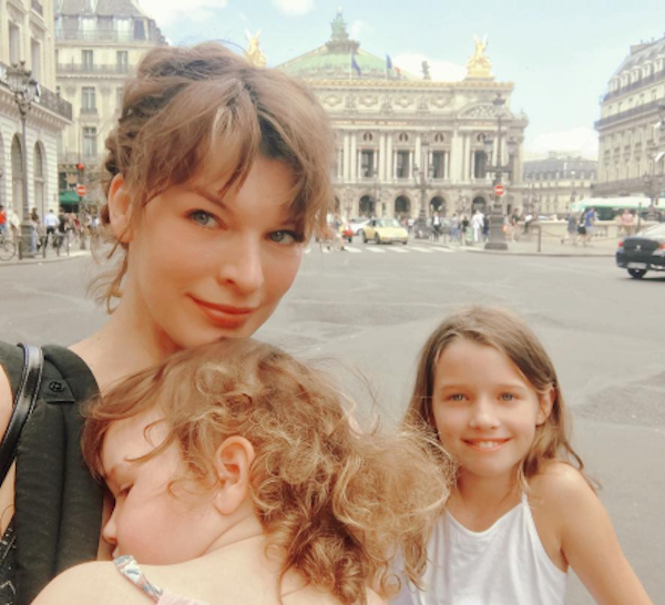 Milla Jovovich Takes Her Daughters Ever and Dashiel To Paris