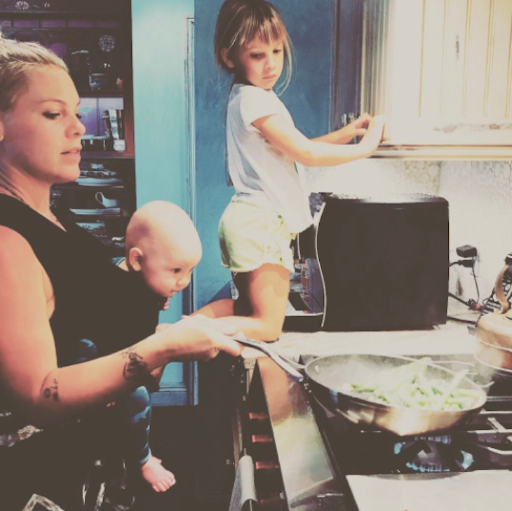 Pink Manages Double Duty In The Kitchen With Her Kids