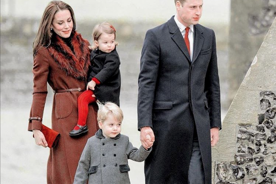 Prince George and Princess Charlotte with Prince William and the Duchess of Cambridge